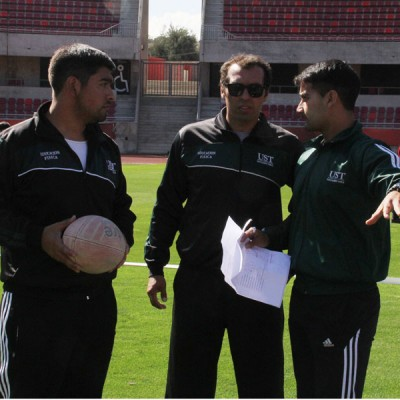 Monitores planificando la actividad junto a Jefe de Carrera, Carlos Munizaga.