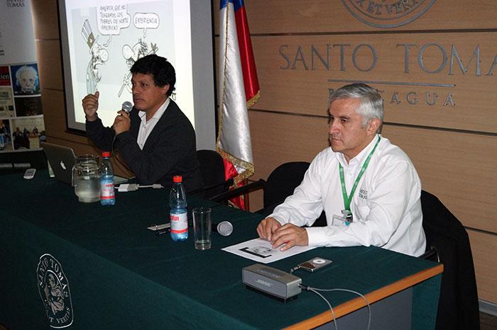 Los profesores Víctor Zurita y Víctor González mostraron dos visiones de la fraternidad, Tema Sello 2016.