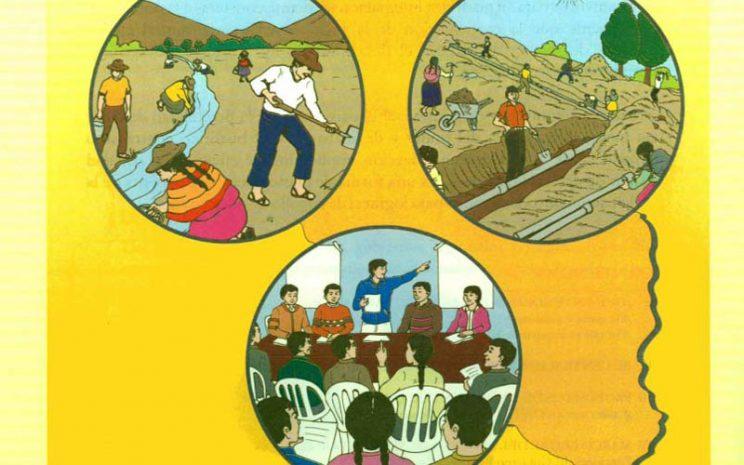 Dibujo que muestra, en tres círculos, la diversidad productiva de una región (agricultura, construcción y una asamblea de personas).