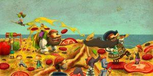 Dibujo de piratas sobre una colorida isla.