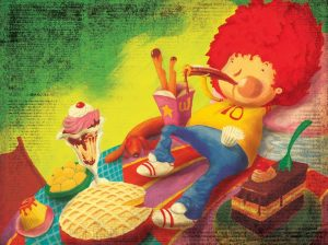 Niño dibujado de cabellera roja, acostado junto a helados y dulces.