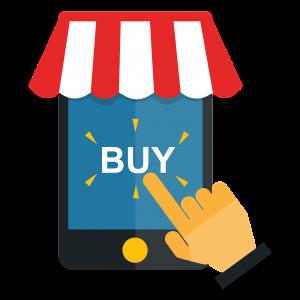 Dibujo de mano y dedo comprando vía internet en un celular.