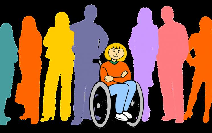 Dibujo de personas. Delante de ella, una niña sonriendo en silla de ruedas.