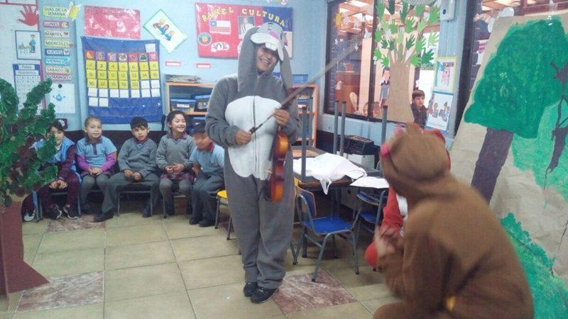 Dos estudiantes disfrazadas de conejo y oso, realizan una obra de teatro a niños y niñas en una sala de clases.